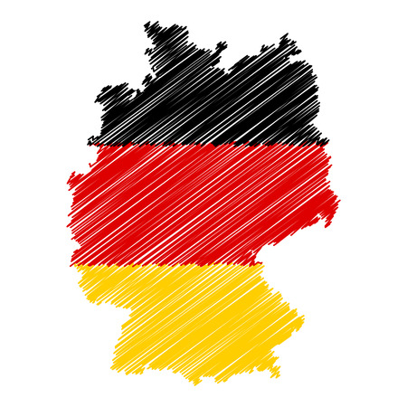 Germany flag map icon hand drawn scribble effect EPS10 vector illustration isolated on white background.
