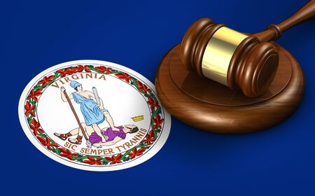 Virginia US state law, legal system and justice concept with a 3D rendering of a gavel on Virginian flag. Stock Photo