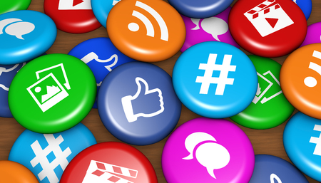 Social media and network web icons on colorful badges concept 3D illustration.