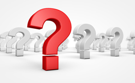 Question mark red symbol and icon customer faq and support concept 3D illustration.