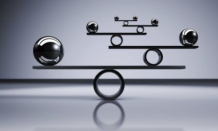 Business and lifestyle balance concept with balanced metal balls on grey background 3D illustration. Stok Fotoğraf - 90061148