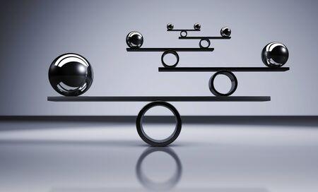 Concepto del balance del negocio y de la forma de vida con las bolas de metal equilibradas en el ejemplo gris del fondo 3D. Foto de archivo - 90061148