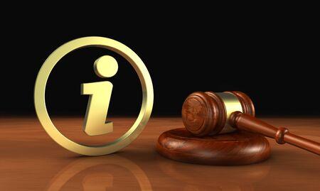 Wetten en het wettelijke concept van de systeeminformatie met informatiesymbool en pictogram en een hamer 3D illustratie.
