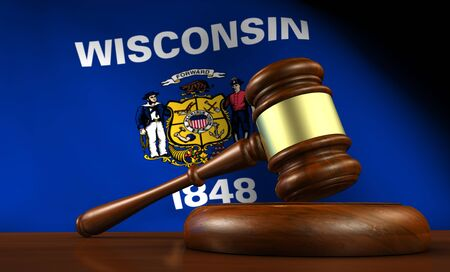 Wisconsin state laws, legal system and justice concept with a 3D rendering of a gavel and flag on background. Stock Photo
