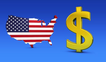 USA economy concept with United States of America flag on map and golden dollar icon 3D illustration.