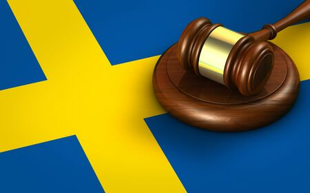 Sweden law, legal system and justice concept with a 3D rendering of a gavel on Swedish flag. Stockfoto
