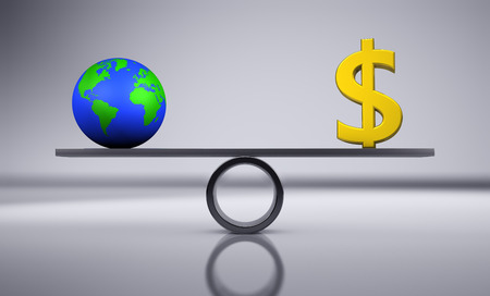 Green economy and eco commerce concept balancing a green earth icon and a golden dollar sign 3D illustration.