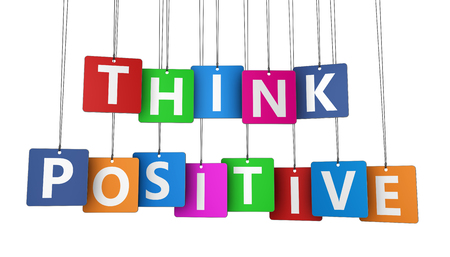 Think positive motivational message on colorful hanged paper tags 3D illustration on white background. Stock Photo