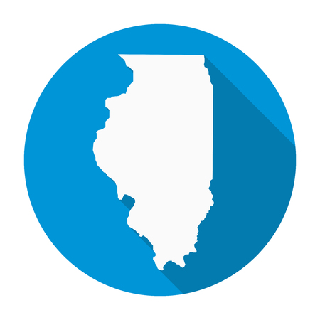 Illinois state map flat icon with long shadow  vector illustration. Illustration