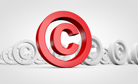 Red copyright symbol and icon intellectual property conceptual 3D illustration.