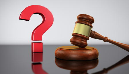 Law and legal questions concept with a red question mark sign and a wooden judge gavel on a desk with grey background 3D illustration. Stock Photo