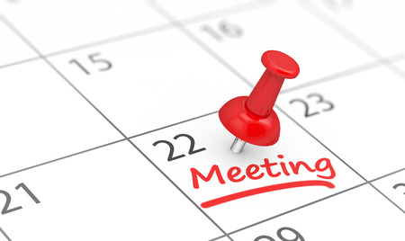 Business meeting reminder concept with a red thumbtack and meeting sign on a calendar page 3D illustration.