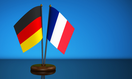Germany flag and France desk flags commerce, friendship and trading relations concept 3D illustration. Stock Photo