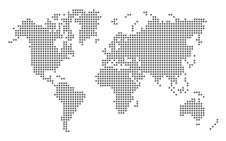 Dotted world map template EPS 10 vector illustration on white background. Çizim