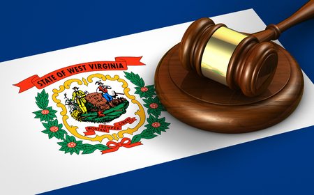 West Virginia US state law, legal system and justice concept with a 3d rendering of a gavel on the West Virginian flag on background. Stok Fotoğraf