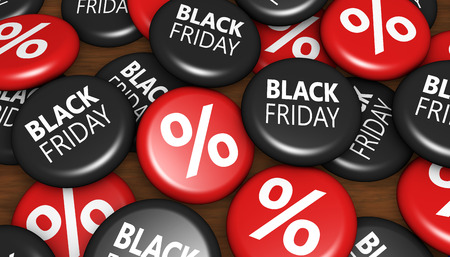 Black friday thanksgiving day shopping sale badges with sign and percent symbol conceptual 3d illustration.