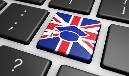 Online English language school and english e-learning concept with Union Jack UK flag and graduation cap icon on a computer key 3D illustration.