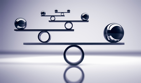 グレー背景3Dイラストにバランスの取れた金属ボールとビジネスとライフスタイルのバランスの概念。 写真素材