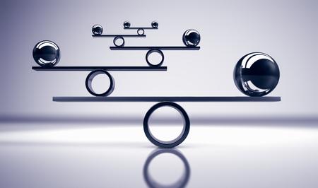회색 배경 3D 그림에 균형 잡힌 금속 공이 있는 비즈니스 및 라이프스타일 균형 개념. 스톡 콘텐츠