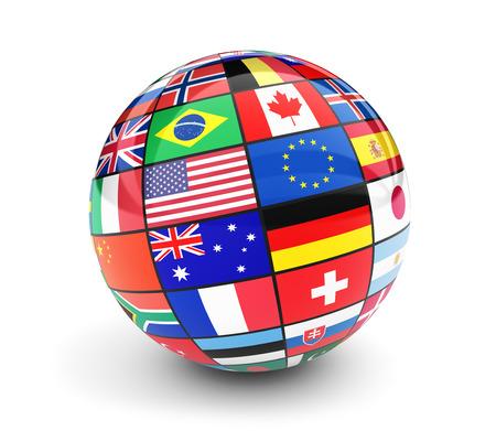 Globo di bandiere internazionali. Business, viaggi e concetto di gestione globale con bandiere internazionali di paesi dell'illustrazione 3D del mondo isolato su sfondo bianco. Archivio Fotografico