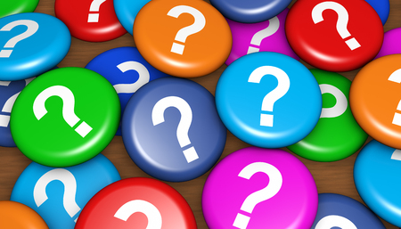Question mark symbol on many colorful badges customer questions and assistance conceptual 3d illustration.