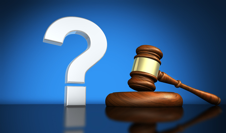 Law and legal questions concept with a silver question mark symbol and a wooden judge gavel on a desk with blue background 3D illustration.
