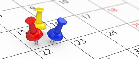 Business time management, deadline and events planning concept with 3 colorful push pins on a calendar page close up view 3D illustration. Stok Fotoğraf