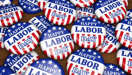 Happy labor day United States national workers holiday concept with sign and american flag colors and symbol on scattered badges 3D illustration. Stok Fotoğraf