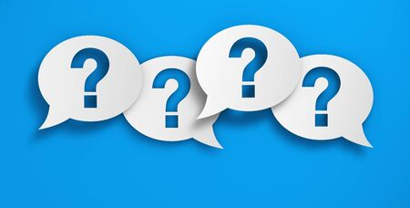 Question mark symbol and sign on papers speech bubbles, customer questions, faqs and business assistance concept 3D illustration on blue background.