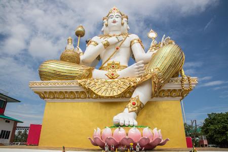 Statue of Brahma at Wat Saman Rattanaram in Chachoengsao,Thailand