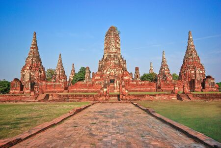The ancient city of Ayutthaya Chaiwatthanaram near the Chao Phraya River  Editorial