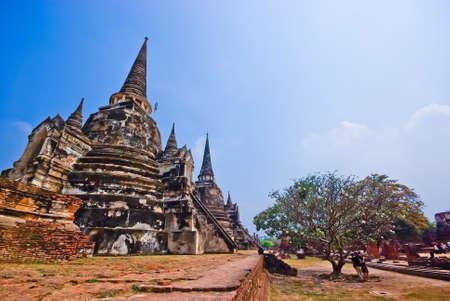The ancient city of Ayutthaya Chaiwatthanaram near the Chao Phraya River,Public art  photo