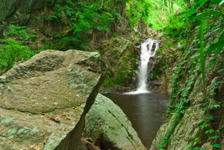 motion blur waterfalls peaceful nature landscape with lush green