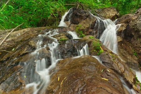 Motion Blur Waterfalls Peaceful Nature Landscape with lush green trees, rocks and flowing water,Ratchaburi, Thailand  Stock Photo - 14190381