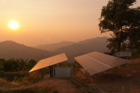 Solar panels  Installed on a high mountain, Ratchaburi Province, Thailand
