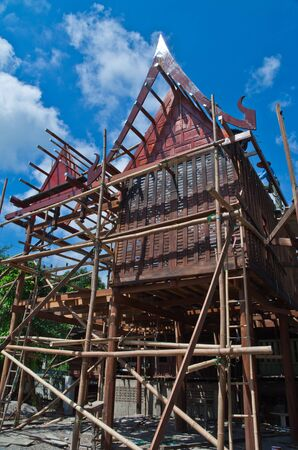 Thai style,Thai home Construction with blue sky, Thailand Stock Photo - 14236821