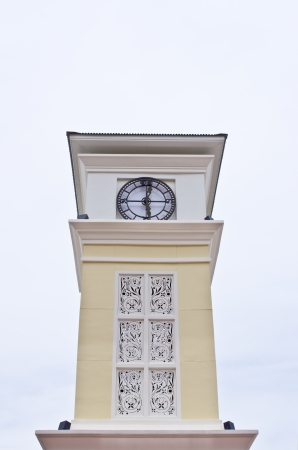 The clock tower in Bangkok  On a white background  photo