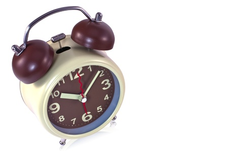 Brown old style alarm clock isolated on white Stock Photo - 14416408