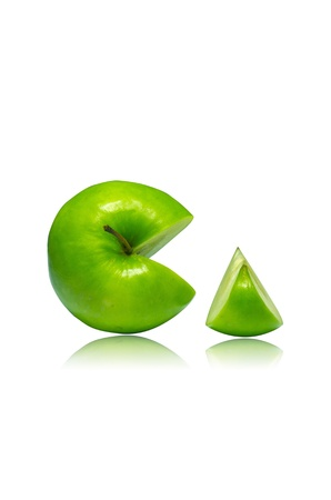 two and a half: The green apple cut into slices  Isolated on a white background