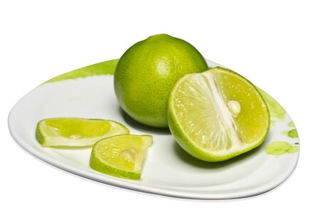 Fresh lime green  Isolated on a white background Stock Photo - 14630021