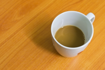 Cup of hot coffee on wooden background photo