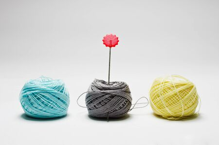 weave ball: Collection ball of yarn for knitting isolated on white background