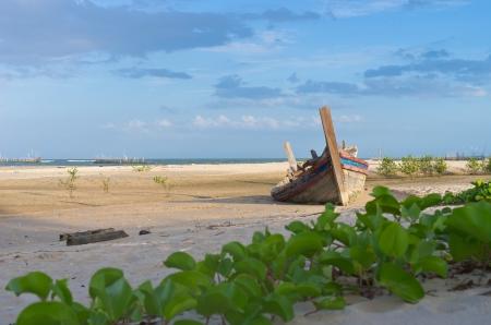 Shipwrecks at the beach in Hua Hin Thailand  photo
