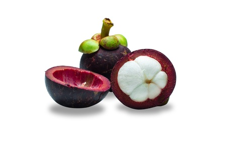 tropical mangosteen fruit on white background (selective focus on front piece) photo