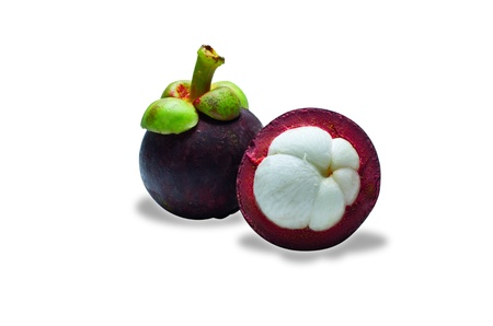 tropical mangosteen fruit on white background  selective focus on front piece