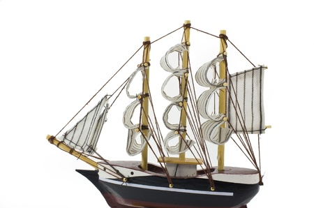 barque: Model Barque with full sails up Isolated on white.
