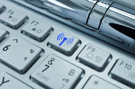 A radio transmitter on the keyboard symbol.