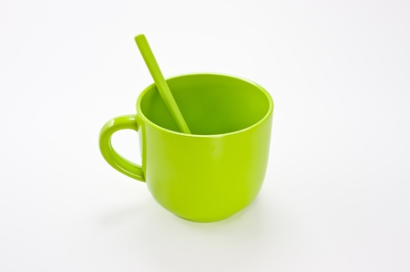 Colorful plastic coffee cup  Isolated on a white background