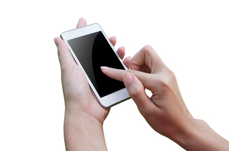 Isolated woman hand holding the phone tablet touch computer gadget  photo
