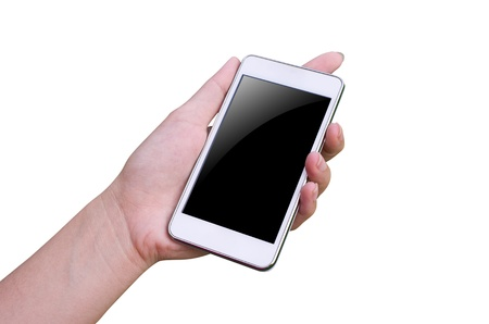 Isolated woman hand holding the phone tablet touch computer gadget  Stock Photo - 15614587